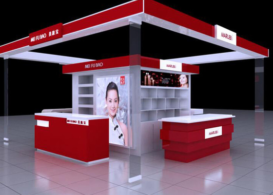 Shopping Mall Cosmetic Display Stand , Red Color Retail Cosmetic Display Cases