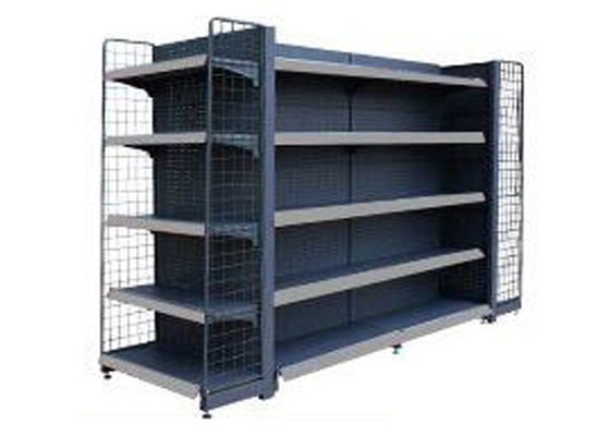 Movable Epoxy Black Supermarket Display Shelving / Convenience Store Display Racks