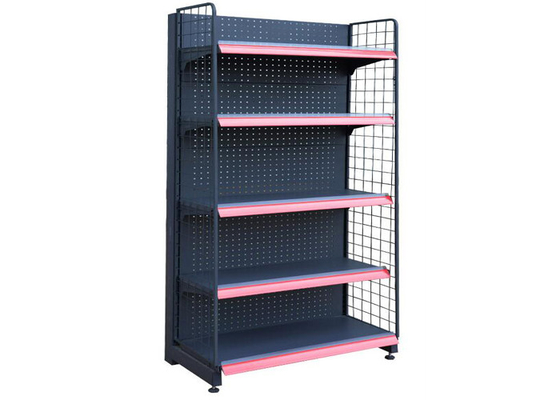 Iron Powder Coated Supermarket Display Racks , Commercial Store Shelving 3-5 Layer