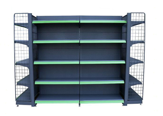 Iron Steel Plating Black Supermarket Display Racks With Grid And Mesh Panel