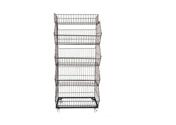 Wire Metal Iron Steel Supermarket Display Shelf With KD Version 3-6 Layer