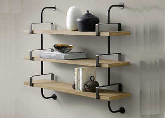 Fixed Wooden Wall Mounted Display Shelving Units Decorative Customized Size