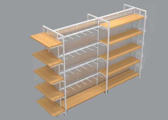 Multifunction 4 Sided Metal Retail Display Shelves With Hooks And Cabinets