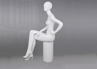 Full Body Female White Shop Display Mannequin Sitting Pose Style For Clothing Store
