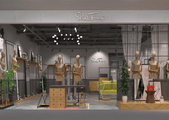 Modern Women's Dressing Clothing Store Display Fixtures Iron And Wood Material