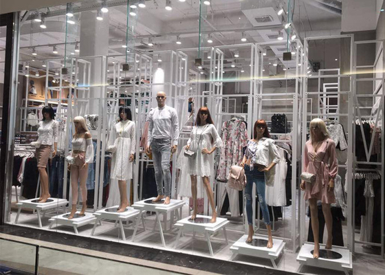 Whole Clothing Store Display Fixtures With Display Stands , Racks , Mannequins