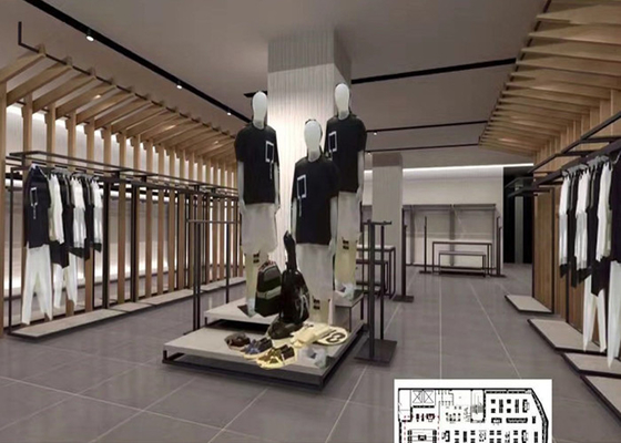 Luxury Clothing Store Display Racks With Shelves , Dress Shop Display Stands