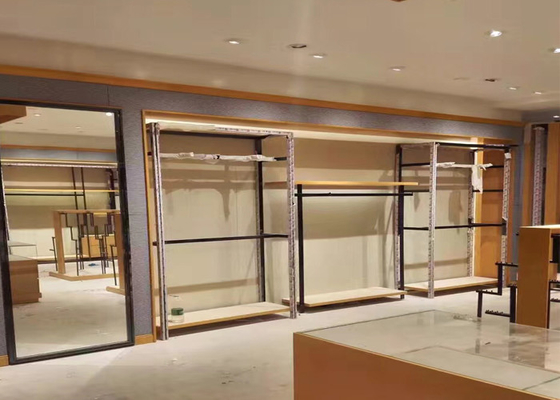 Graceful Retail Clothing Store Fixtures , Wooden And Steel Garment Display Stand