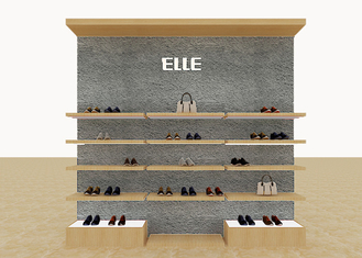 Mix Version Men's Shoe Shop Display Stands Wooden Shelves With Custom LOGO