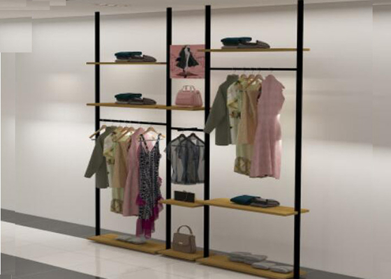 Eco Friendly Wall Garment Clothing Display Rack , Metal Clothing Display Shelves