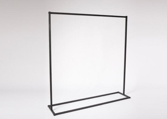Metal Retail Chain Stores Hanging Clothes Display Rack Flooring Stand Black Color