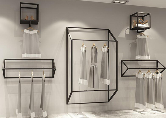 Customized Size Clothing Display Rack / Garment Wall Display Small And Light Style