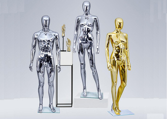 FRP Standing Female Window Fashion Display Mannequin Chrome With Silver Or Golden Color