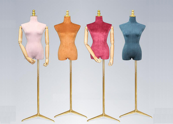 Female Colorful Flannelette Decorative Shop Display Mannequin With Golden Metal Stand
