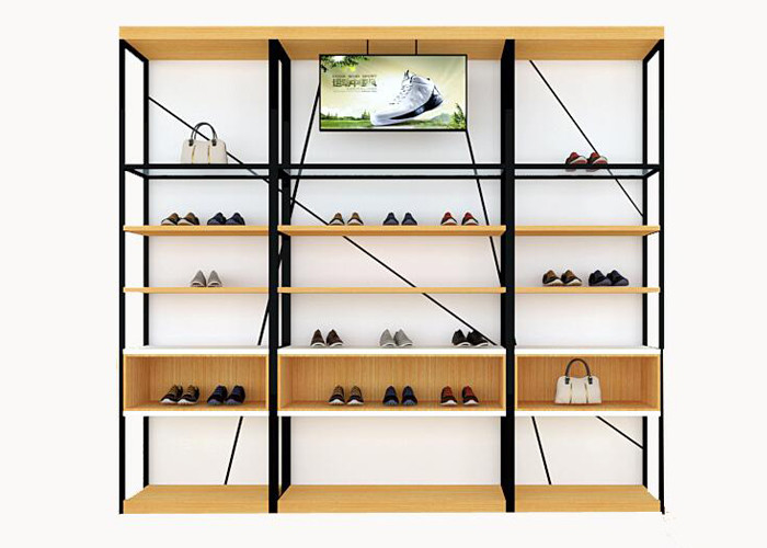 Metal And Wooden Wall Shoe Display Racks Shoe Display Fixtures