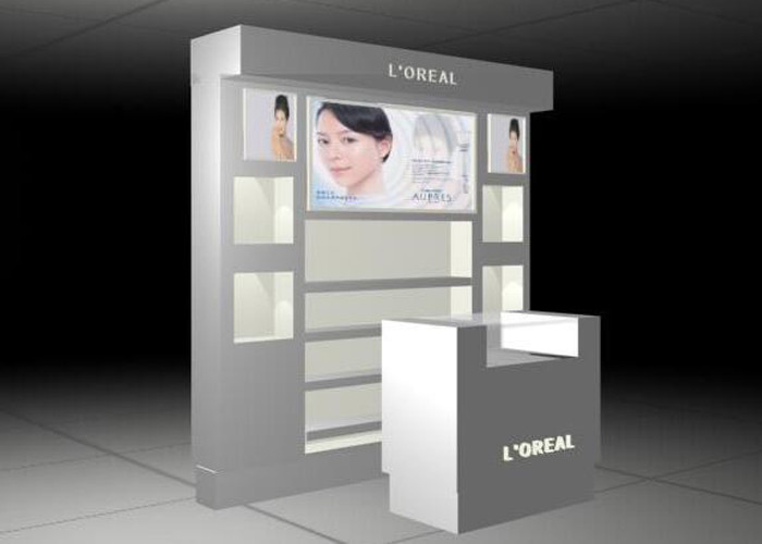 China RAL Color Cosmetic Display Stand / Beauty Product Display Units Flooring Style factory