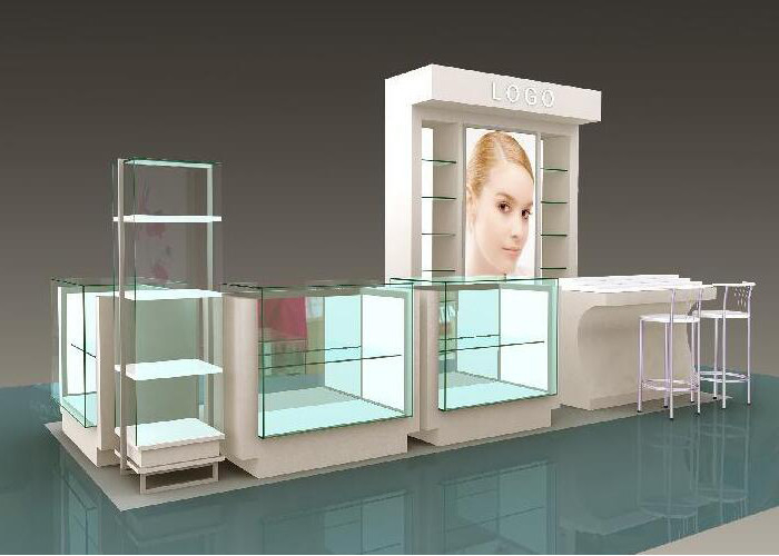 China Flooring Type Beauty Product Display Stand  Cosmetic Display Showcase With Glass Shelf factory