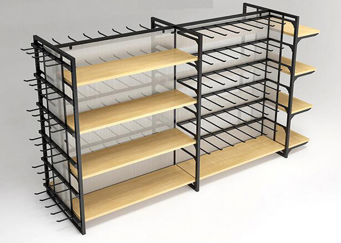 Flooring Stand Retail Display Shelves / Commercial Store Fixtures With Hooks