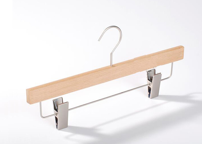 China Natural Lotus Wood Clothing Store Hangers With Clips For Displaying Pants factory