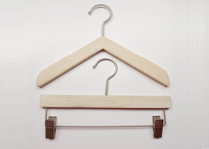 China Triangle Style Solid Wooden Retail Store Hangers For Women / Kids Clothes factory