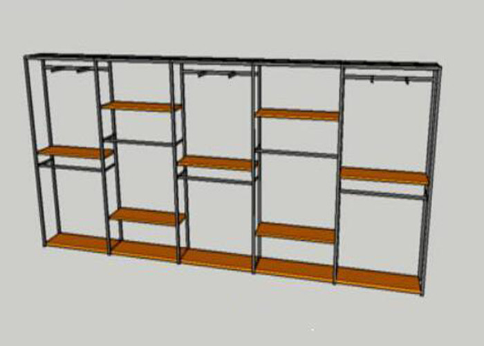 Metal Tube Wooden Shelf Garment Display Stands For Chain Stores Easy Assembly