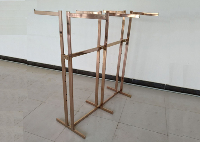 Double Sided Clothing Store Display Racks , Clothes Display Hanger Stand