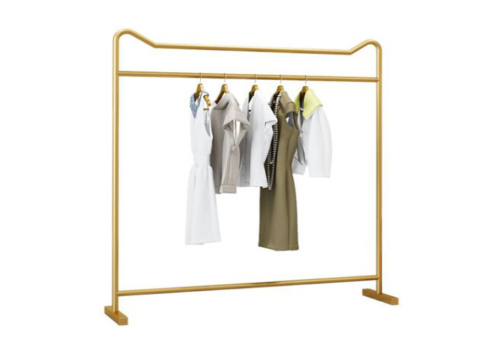 China 201 Steel Clothes Display Stand For Lady 's Clothing Metal Plating Golden Color factory