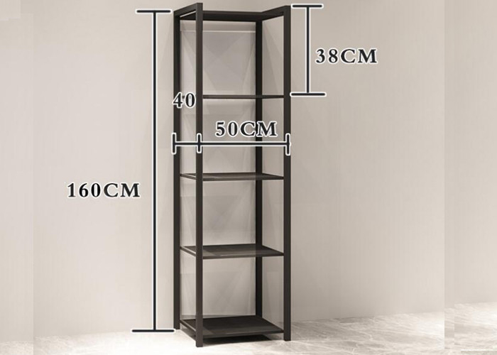 China Clothing Shop Metal Clothes Display Stand With 4 Layer Shelves Floor Mounted Custom Logo factory