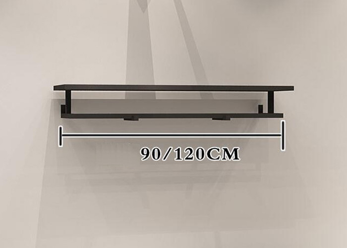 China Customized Shop Wall Shelf Clothes Display Stand With Iron Matt Black factory