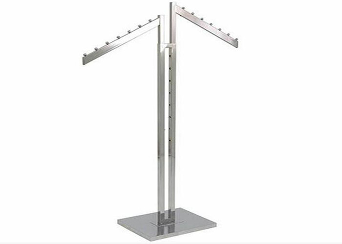 Two Ways Steel Material Garment Display Stands With 10mm Metal Base supplier