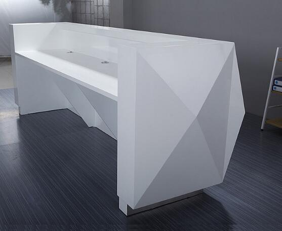 Glossy White Retail Checkout Counter , Damp Proof Retail Store Cash Counter