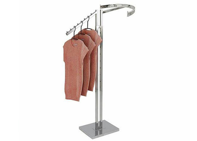 Two Ways Steel Material Garment Display Stands With 10mm Metal Base