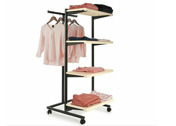 Multifunction Light Weight 4 Wheels Clothing Display Rack / Clothing Store Racks And Shelves